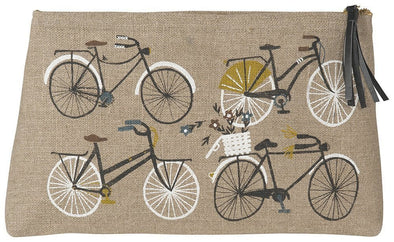 Bicicletta Large Linen Cosmetic Bag