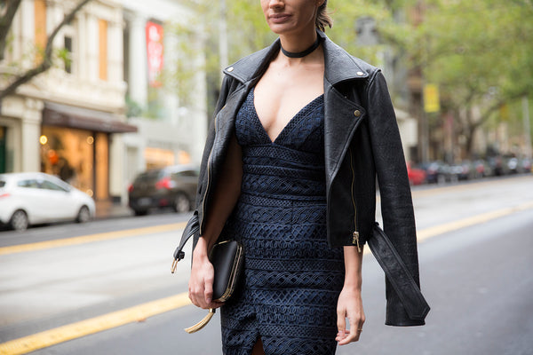 Nikki wears our Navy Braided Lace Dress & her own leather jacket.