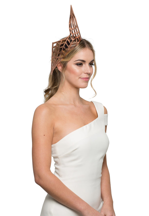 Danica Erard Millinery Lana Sculpture Headpiece - Copper* for rent - Her Wardrobe Dress Rental