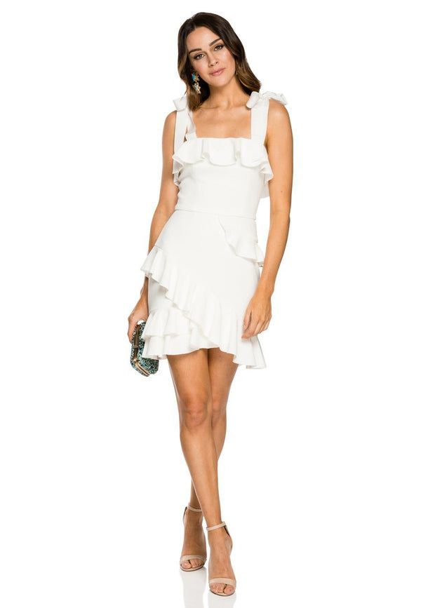 Rebecca Vallance Aegean Mini Dress - White for rent - Her Wardrobe Dress Rental