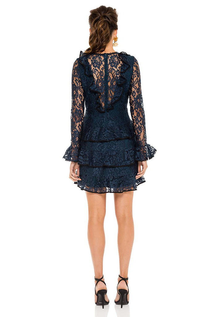 Tracie Tiered Ruffled Lace Mini Dress