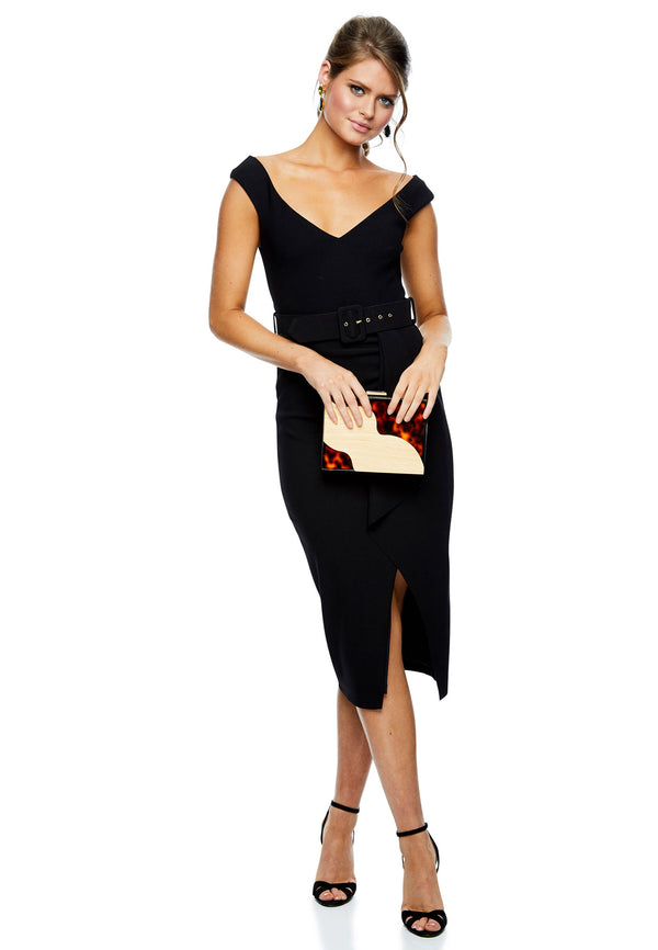 Pasduchas Dynasty Waterfall Midi - Black for rent - Her Wardrobe Dress Rental
