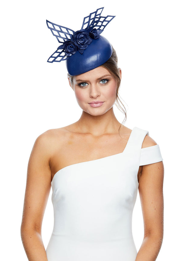 Allport Millinery Navy Rose Teardrop* for rent - Her Wardrobe Dress Rental