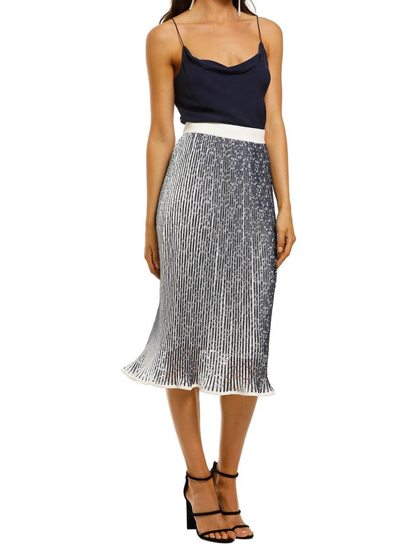 Lace Mirage Pleat Midi Skirt