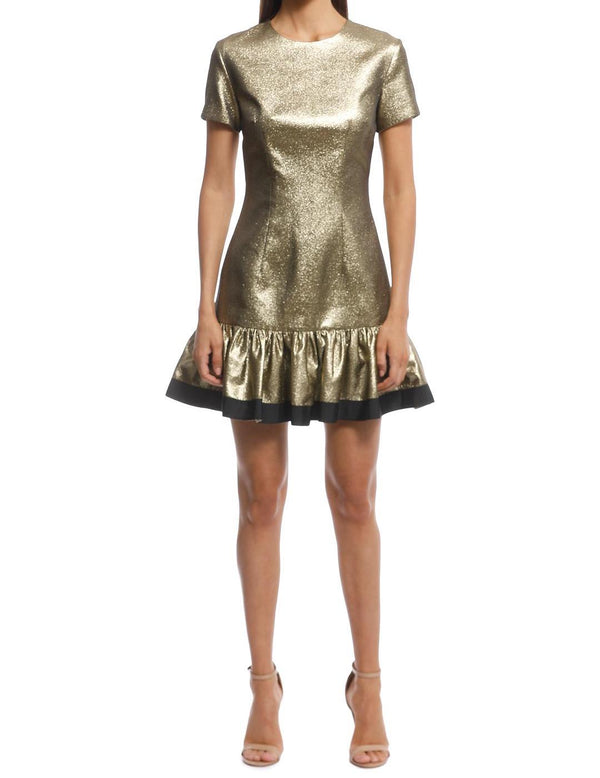 Gold Yarn Frill Tee Mini Dress