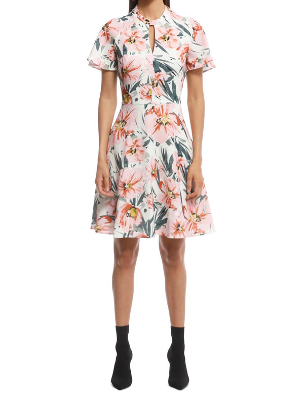 Painted Floral Tucked Sleeve Dress