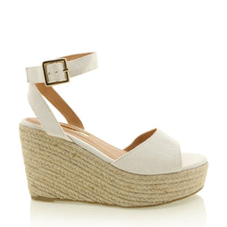 Perla Wedge - White Linen