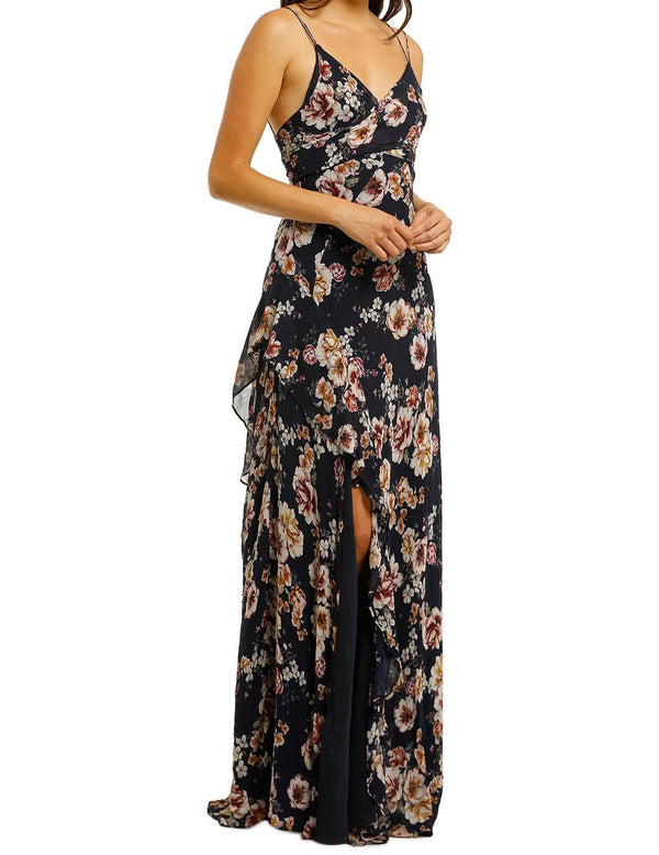 Garden Rose Tie Front Maxi Dress