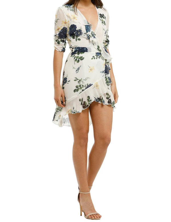 Blue Rose Short Sleeve Wrap Dress