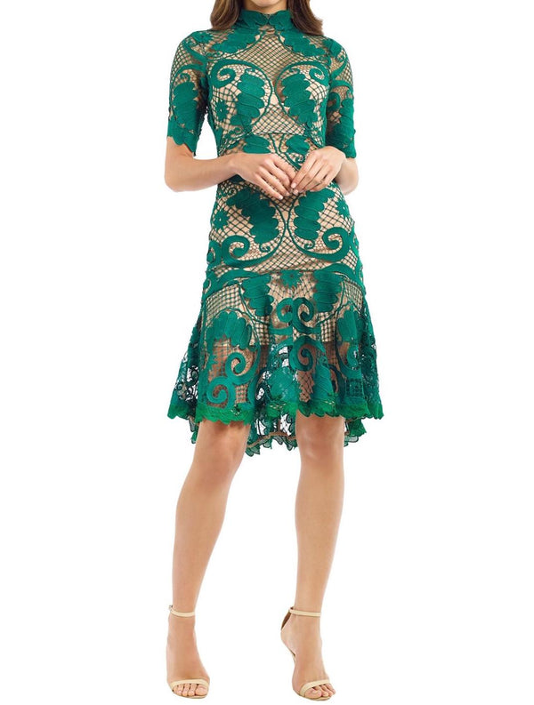 Babylon Lace Dress - Emerald