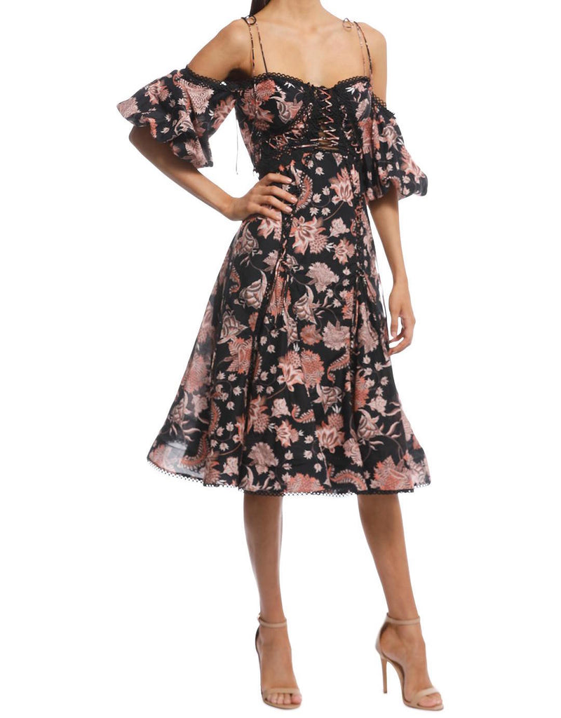 Pineapple Chintz Lace Up Midi Dress