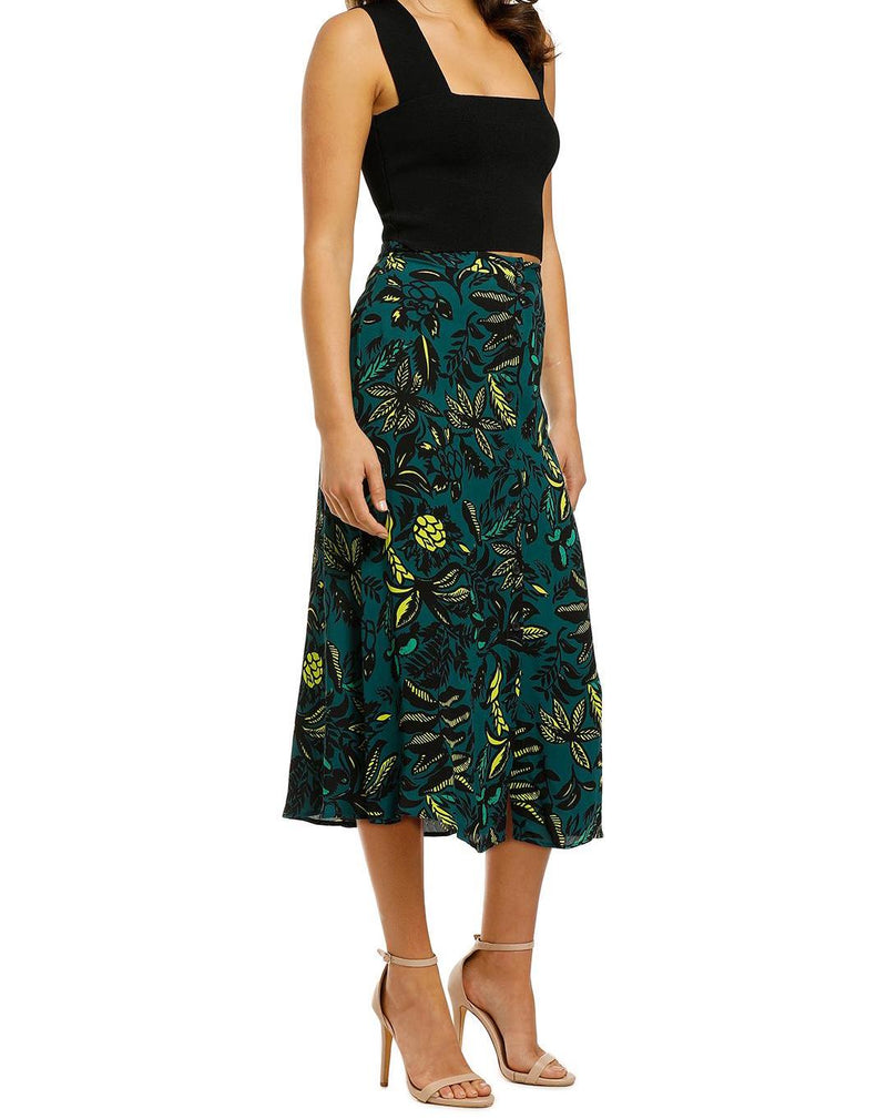 Assorted Leaves Print Skirt