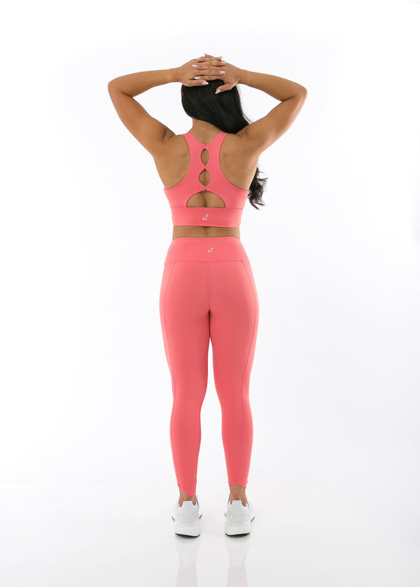 back view of luscious rose sports bra