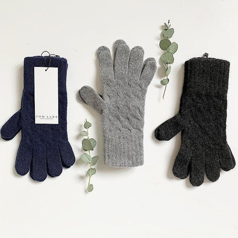 Cashmere Gloves in Navy, Soft Grey and Charcoal