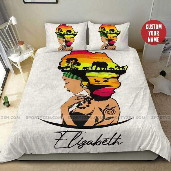 Black girl African Animal Personalized name comforter set Duvet Cover Bedding Set #16h