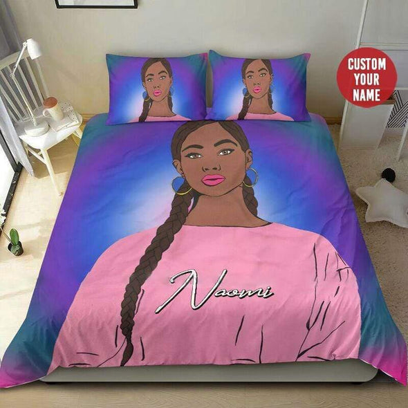 Personalized African Black Teen Girl Pink Personalized Name Duvet Cover Bedding Set #0107H