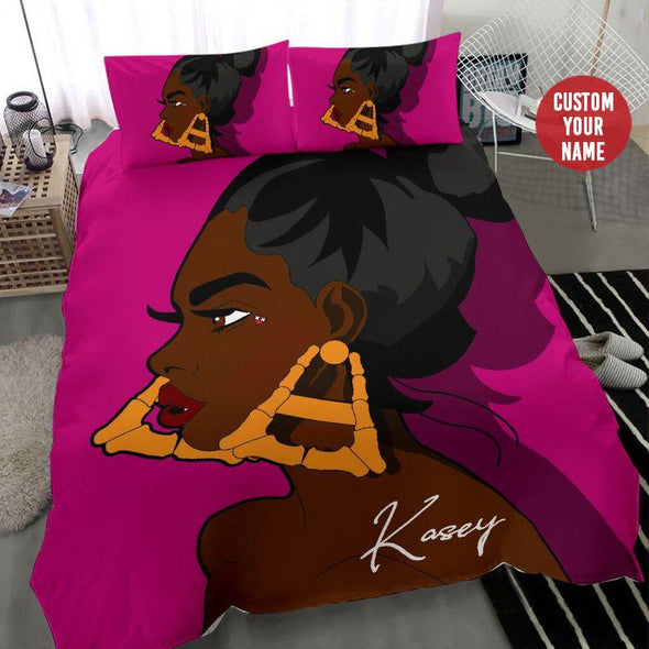 Black Girl Big Earring Personalized name Duvet Cover Bedding Set #109H