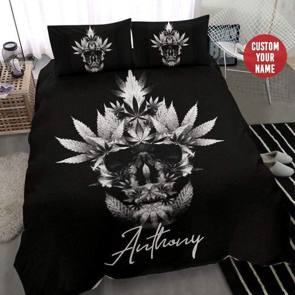Weed Skull Black Personalized Name Duvet Cover Bedding Set #110H