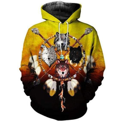 Native Americans Dreamcatcher Wolf Hoodie 3D All Over Print