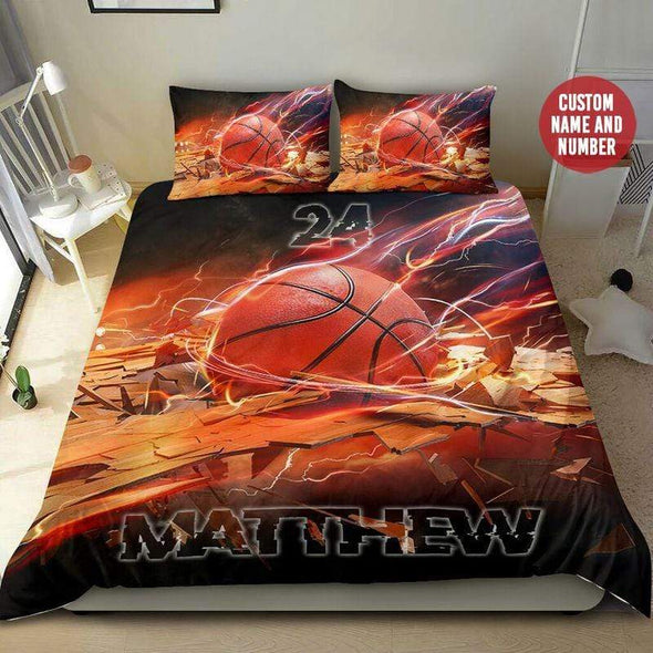 Basketball Broken Flash Personalized Duvet Cover Bedding Set with Your Name and Number #409H