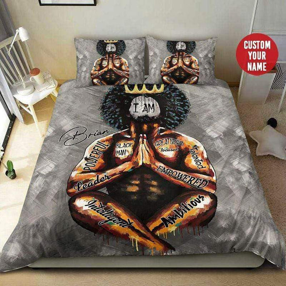 Black King Men Powerful Personalized Name  Duvet Cover Bedding Set #H78