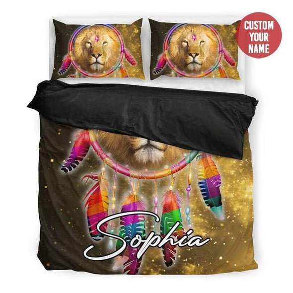 Tribal Dreamcatcher Lion Personalized Duvet Cover Bedding Set with Name #10420H
