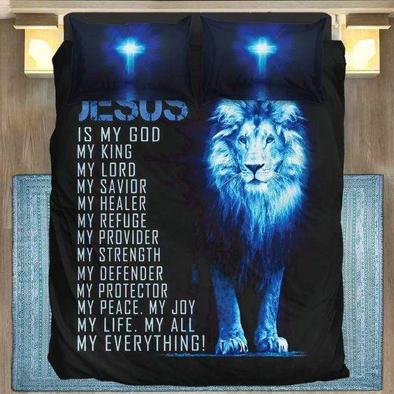 Jesus My Everything Lion Personalized Name Duvet Cover Bedding Set