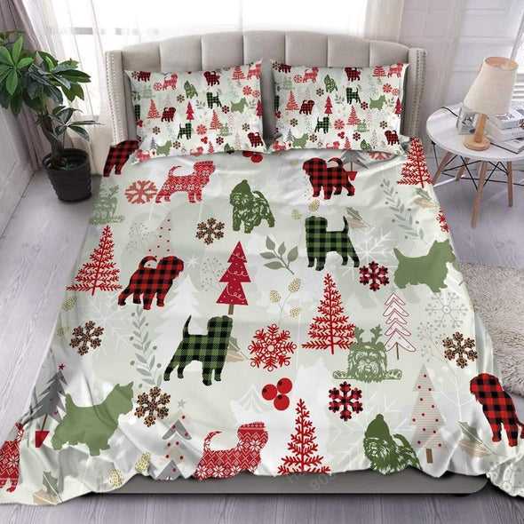 Affenpinscher Dog Christmas Duvet Cover Bedding Set