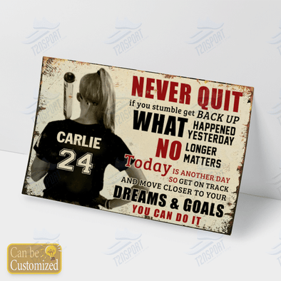 Baseball Girl never quit if you stumble get back up custom name & number Canvas #KV