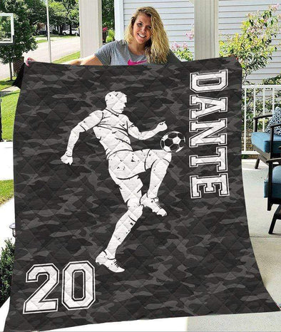 Customized Soccer Player Camo Quilt Blanket With Name And Number
