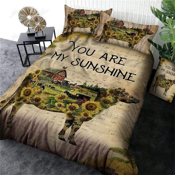 You Are My Sunshine sunflower with farm Duvet Cover Bedding Set