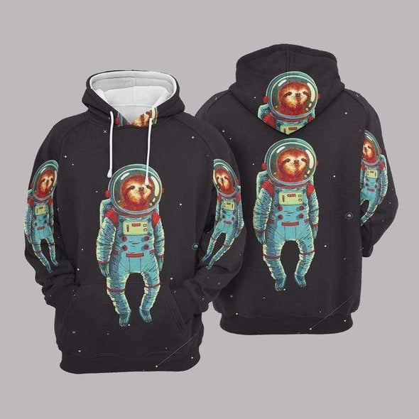 Sloth astronaut black Hoodie 3D All Over Print