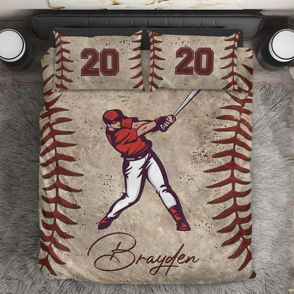 Personalized Name Baseball Batter Player Duvet Cover Bedding Set