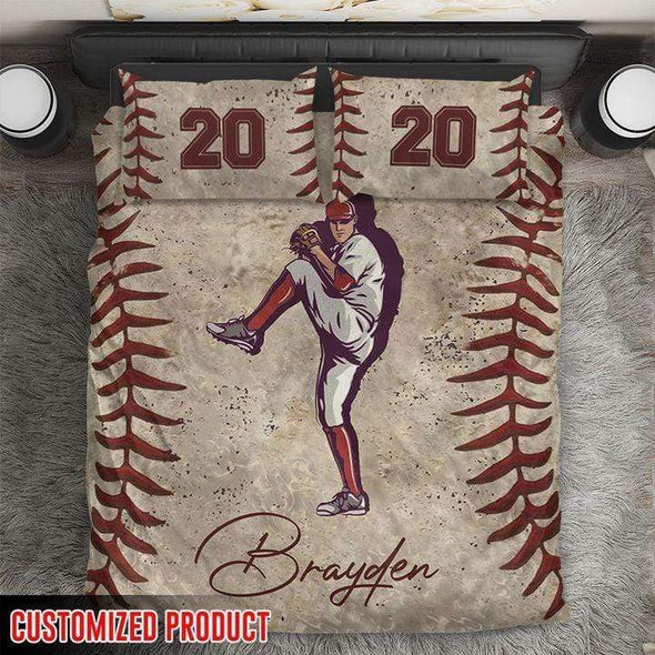 Personalized Name Baseball Pitcher Player Duvet Cover Bedding Set