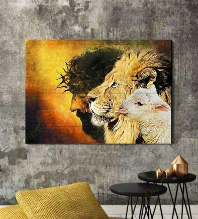Christians Jesus Bless cross lion and lamb Canvas Canvas Prints #V