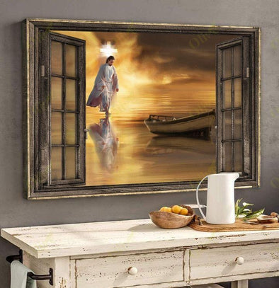 Jesus Christ Walking On Water by the windows canvas print #V