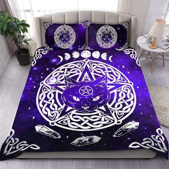 Wicca Purple Wiccan Cat Personalized Name Duvet Cover Bedding Set #L