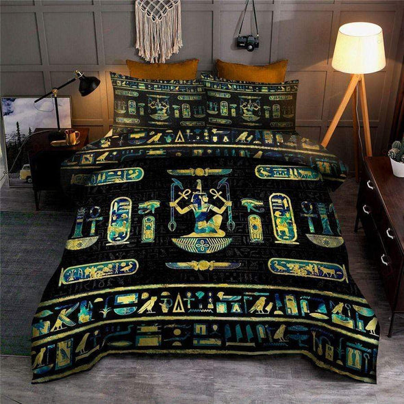 Ancient Egyptian Gold And Blue Marble Ornament Bedding Personalized Name Duvet Cover Bedding Set #V
