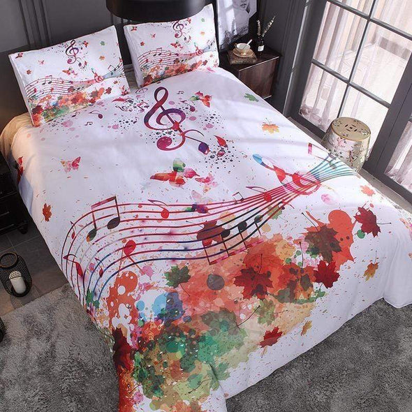 Colorful Art Muusic Personalized Name Duvet Cover Bedding Set
