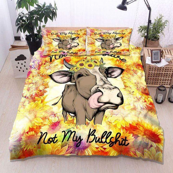 Cow Sunflower Not My Pasture Duvet Cover Bedding Set