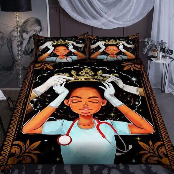Black Queen Nurse Crown Personalized Duvet Cover Bedding Set with Name
