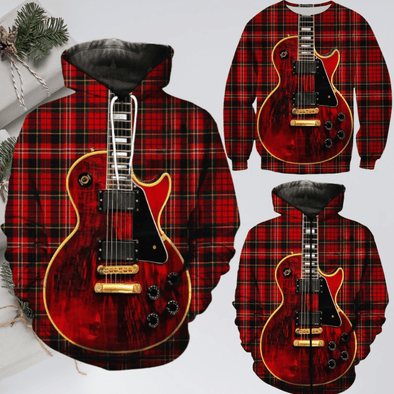 Plaid Guitar Red Hoodie 3D All Over Print