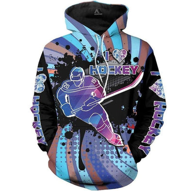 Amazing I Love Hockey Colorful Hoodie 3D