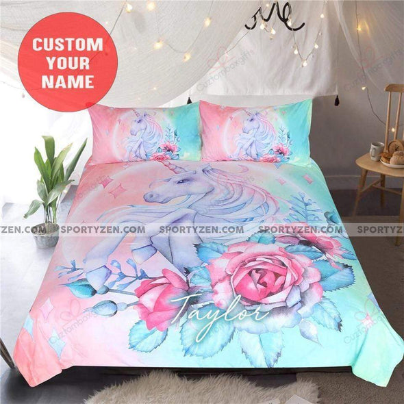 Personalized Unicorn Mint And Pink Pastel Personalized Name Duvet Cover Bedding Set #V