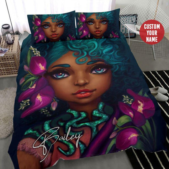 Black Girl Curly Cyan Hair Personalized name Duvet Cover Bedding Set #1007H