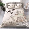 Football Sketch Players Personalized Duvet Cover Bedding Set with Your Name And Number #V