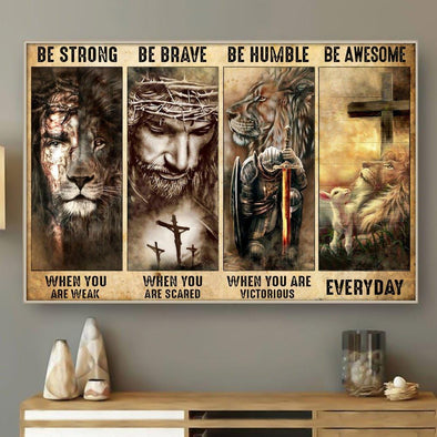 Jesus Is Risen Be Strong Be Brave Be Humble Everyday Canvas Wall Art
