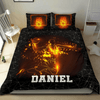 Personalized Basketball On Fire Personalized Duvet Cover Bedding Set with Your Name #V