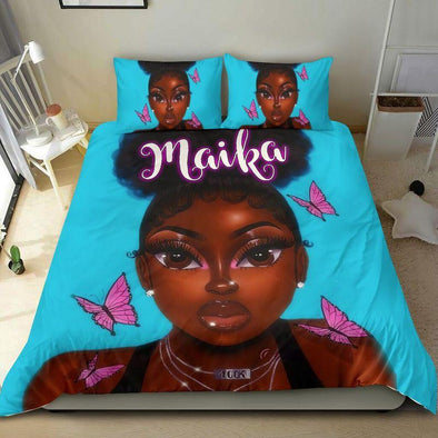 Black girl high puff hairstyle with butterfly African Personalized Name Duvet Cover Bedding Set #2206v