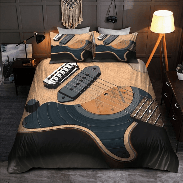 Music Guitar Body Bedding Personalized Name Duvet Cover Bedding Set
